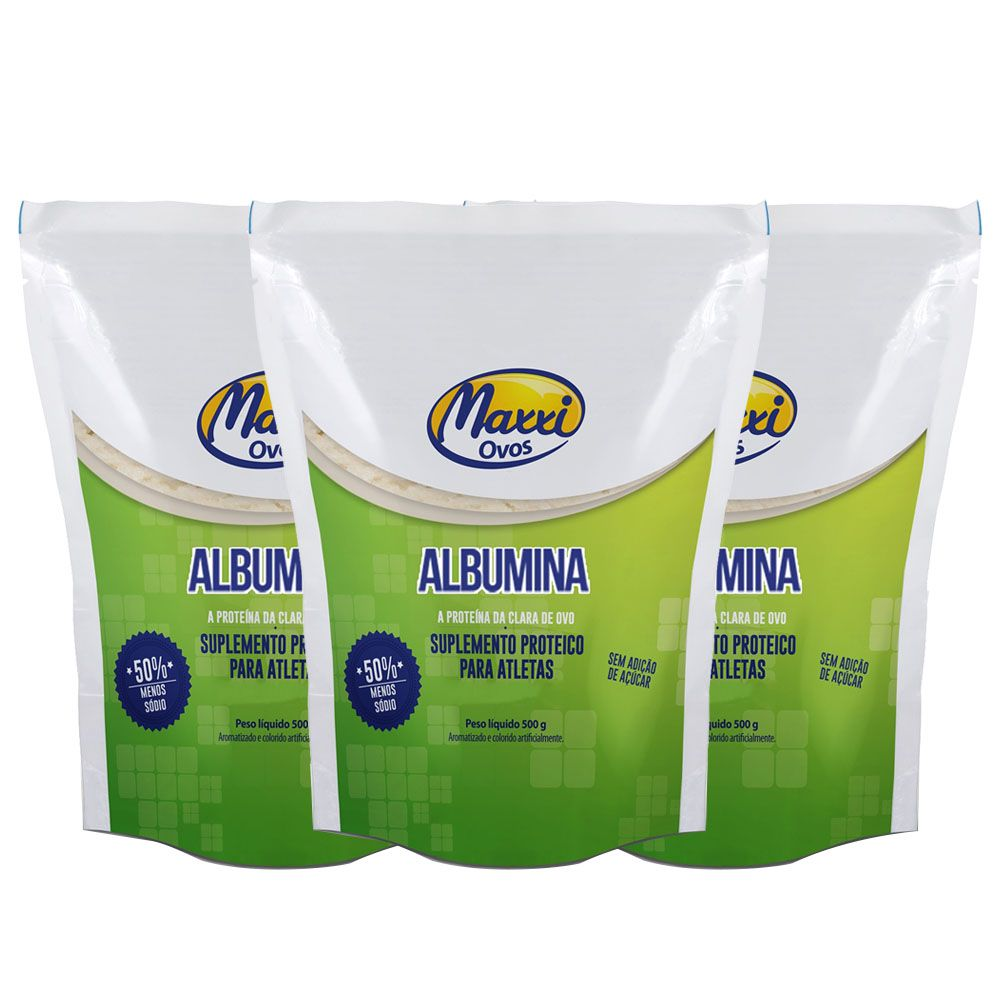 Albumina 500g Morango MAXXI OVOS 3 Unidade  - KFit Nutrition