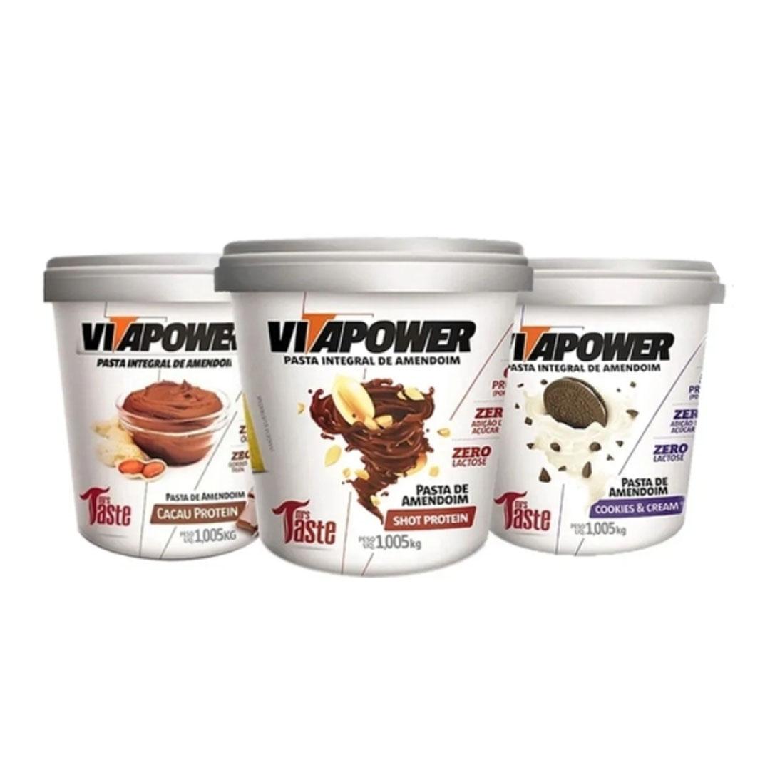 Kit 3 Vitapower Sabores Cookies + Cacau + Shot  - KFit Nutrition