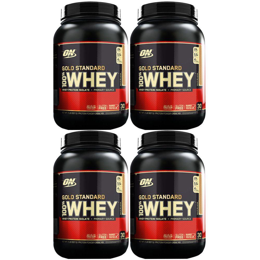 Kit 4 Un 100% Whey Gold Standard 1090G Chocolate  - KFit Nutrition