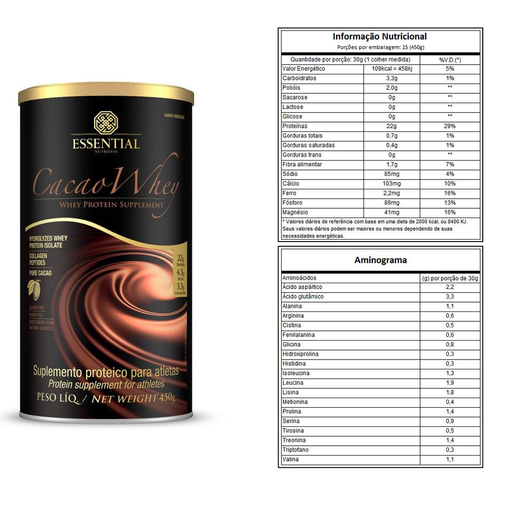 Cacao Whey 450g - Essential Nutrition 4 Unidades  - KFit Nutrition