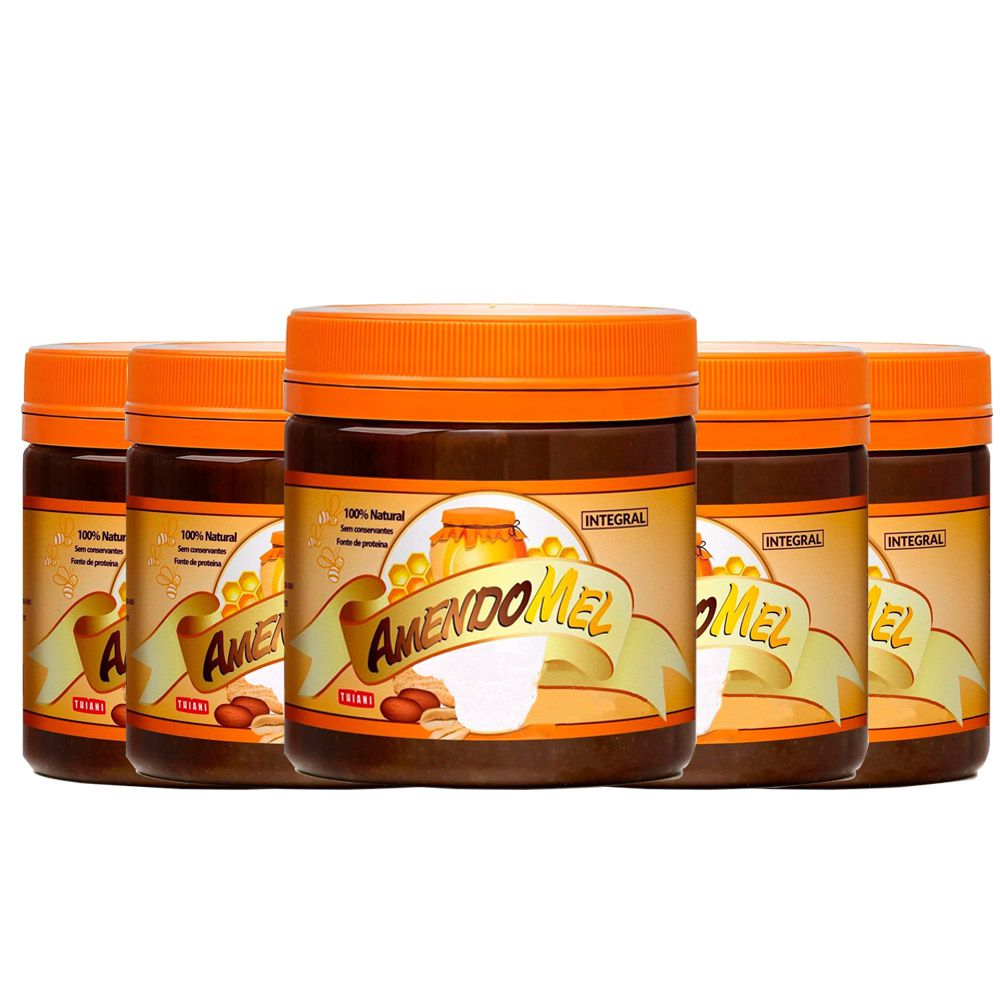 5Un Pasta de Amendoim Amendomel 500g Crocante e Cacau Thiani  - KFit Nutrition