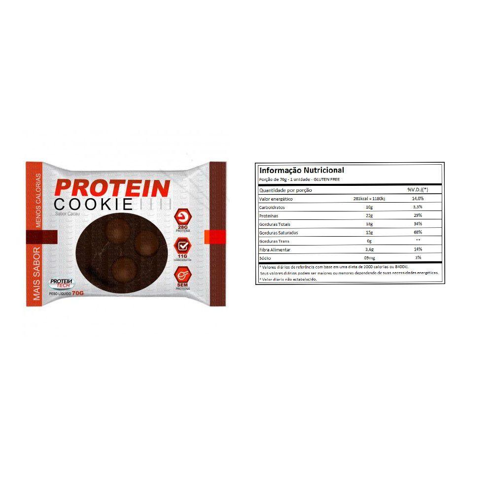 Protein Cookie 27G tradicional Cacau Proteintech - 8 Unidade  - KFit Nutrition