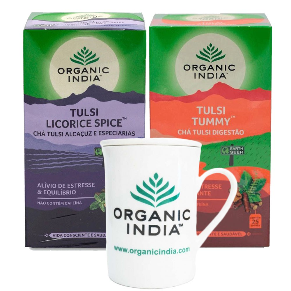 Chás Tulsi Licorice e Tulsi Tummy GANHE Caneca Organic India  - KFit Nutrition
