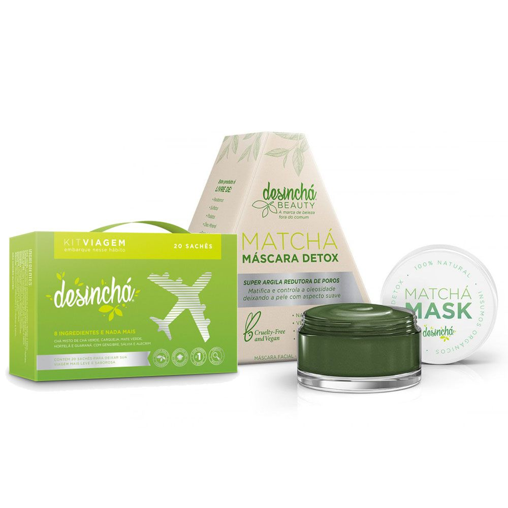 Desinchá Viagem 20 Sachês + Matchá Máscara Detox 60g  - KFit Nutrition