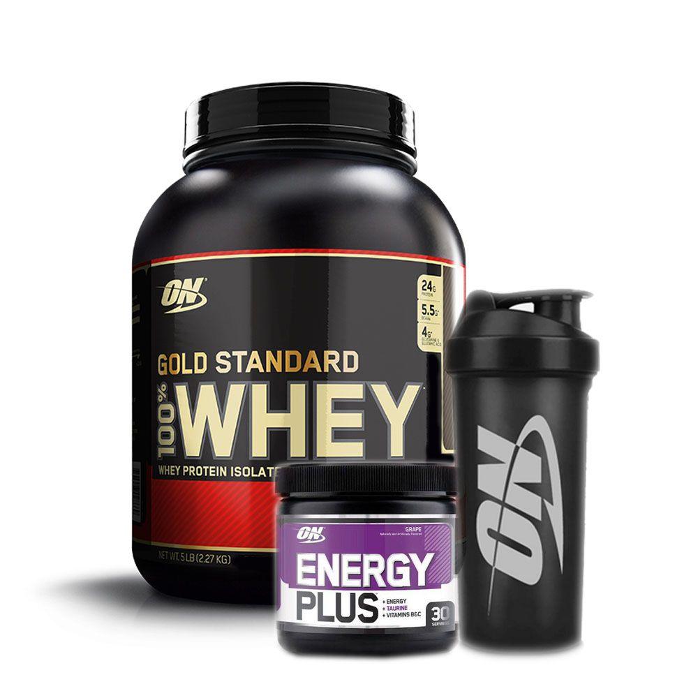 Energy Plus + Gold Standard 2.270g Baunilha + Bottle  - KFit Nutrition