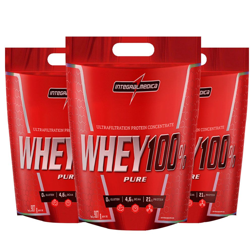 Super Whey 100% Pure 1un Baunilha 1un Chocolate 1un Morango  - KFit Nutrition