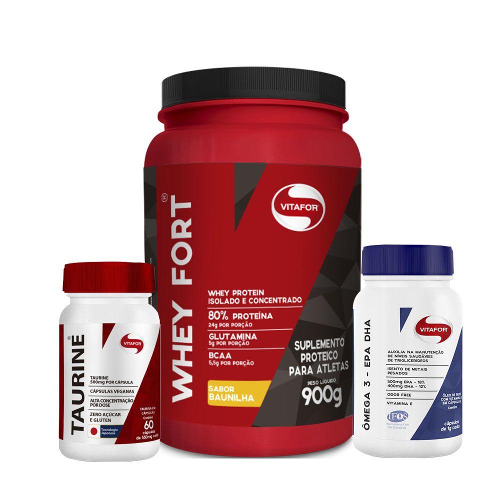 Whey Fort Chocolate + Taurina + Ômega3 EPA DHA  - KFit Nutrition