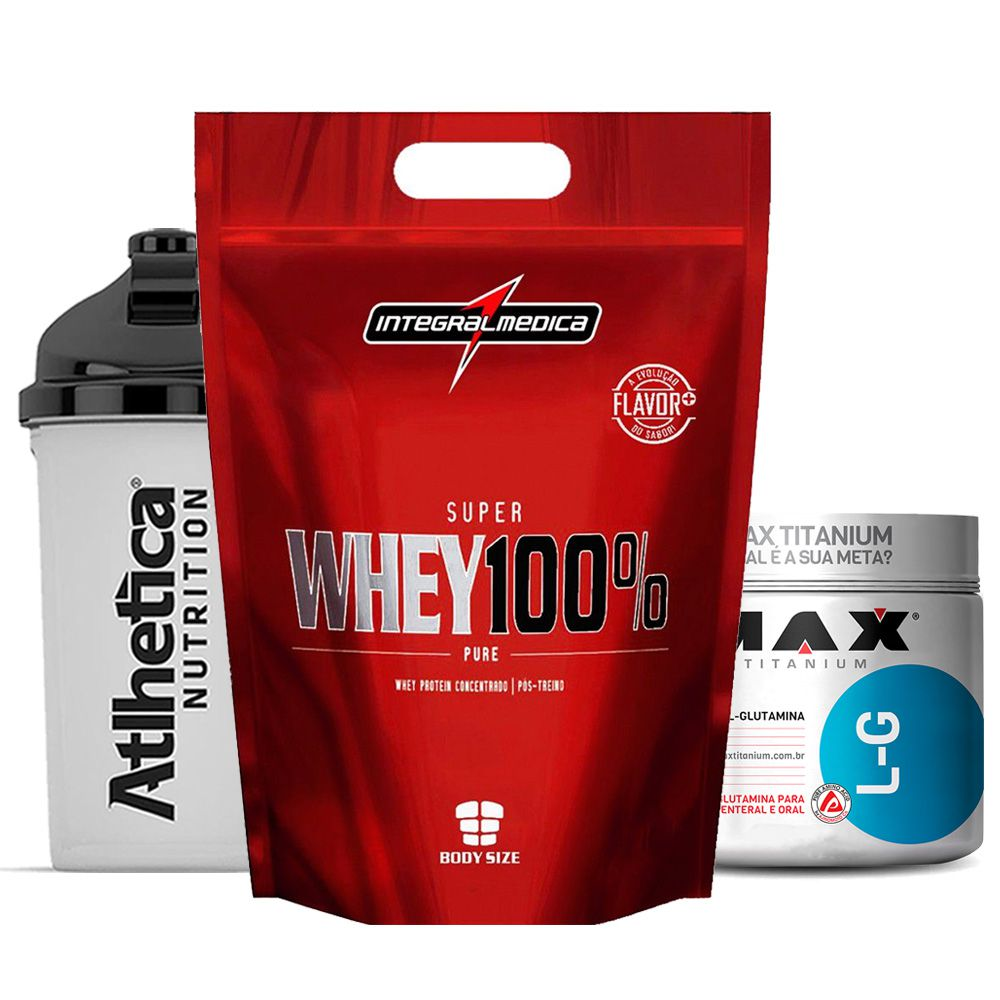 Super Whey 900g Morango + Glutamina 300g + Bottle 500ml  - KFit Nutrition