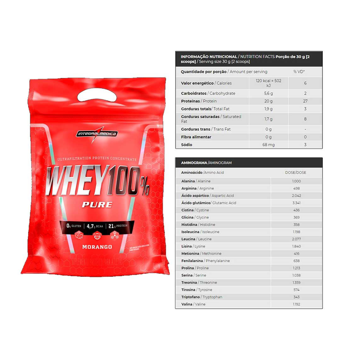Kit Super Whey Morango 100% 900g + Bcaa 60 Caps  - KFit Nutrition