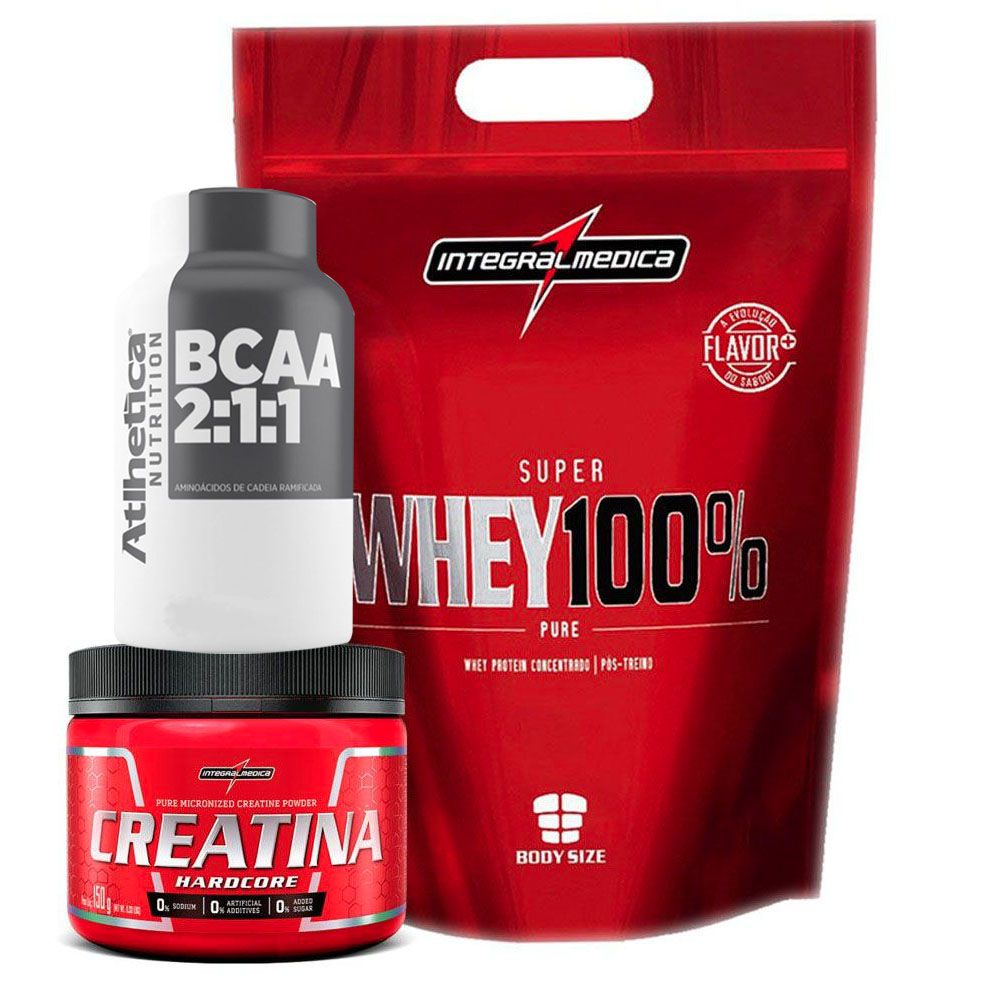 ad0039d56 Kit Super Whey Morango 100% 900G + Bcaa 120 + Creatina 150G
