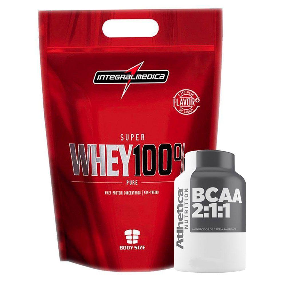 Super Whey Morango 100% 900G + Bcaa 60 Caps  - KFit Nutrition