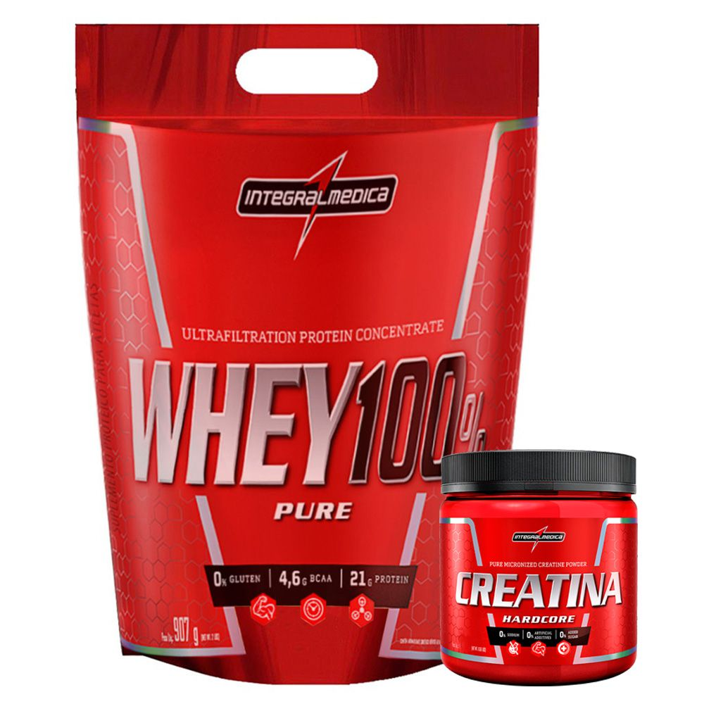 Super Whey Morango 100% 900G + Creatina 150G  - KFit Nutrition