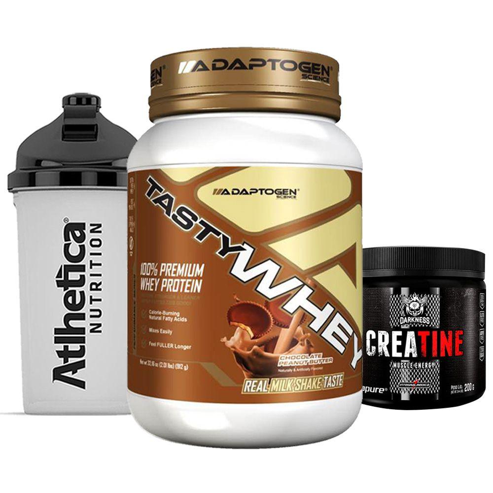 Tasty Whey 2 LB Choc  Peanut + Creatina 200g + Bottle  - KFit Nutrition