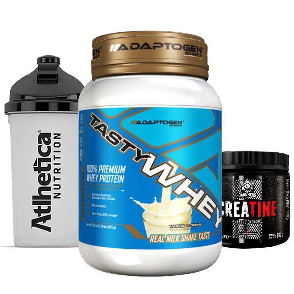 Tasty Whey 2 LB Vanilla + Creatina 200g + Bottle 500ml  - KFit Nutrition