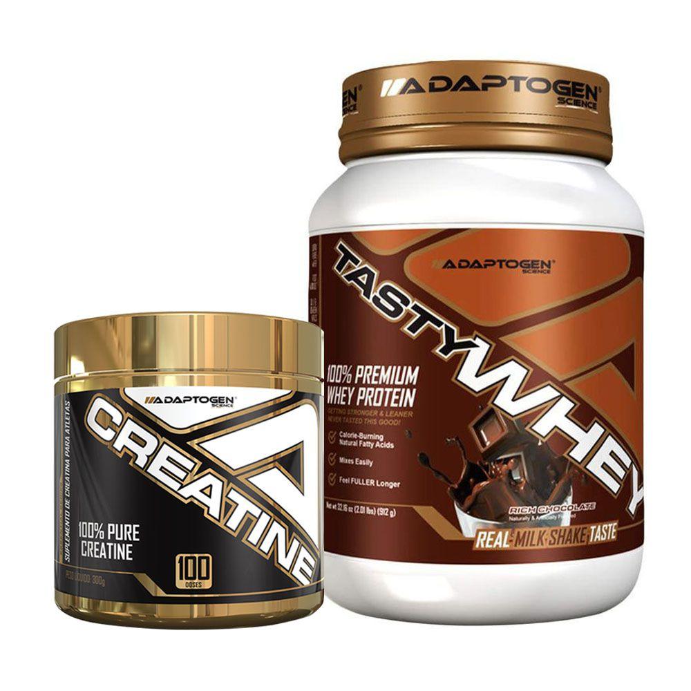 Tasty Whey 2 LBS Chocolate + Creatine 300g - Adaptogen  - KFit Nutrition