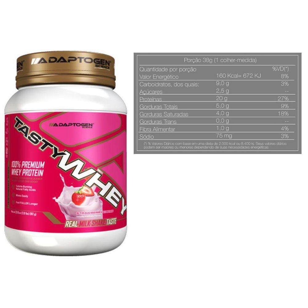 Tasty Whey 2 LBS Strawberry + Bcaa 90 Caps - Adaptogen  - KFit Nutrition