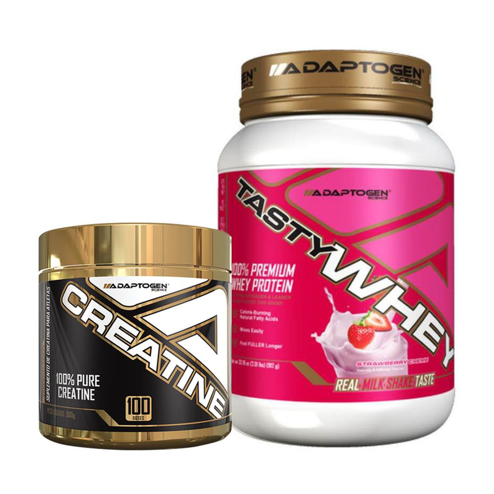 Tasty Whey 2 LBS Strawberry + Creatina 300g - Adaptogen  - KFit Nutrition
