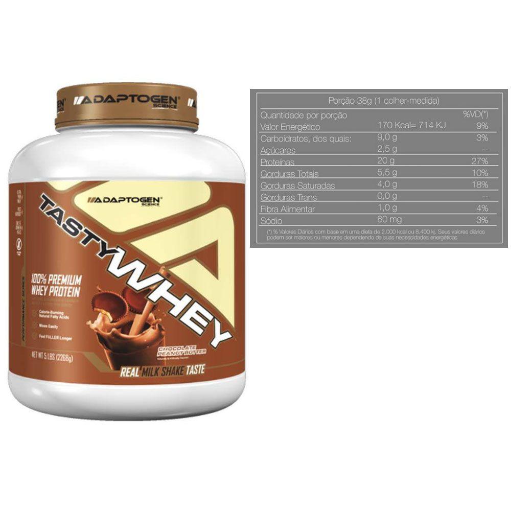 Tasty Whey 5 Lbs Choc Peanut + Bcaa 90 Caps - Adaptogen  - KFit Nutrition
