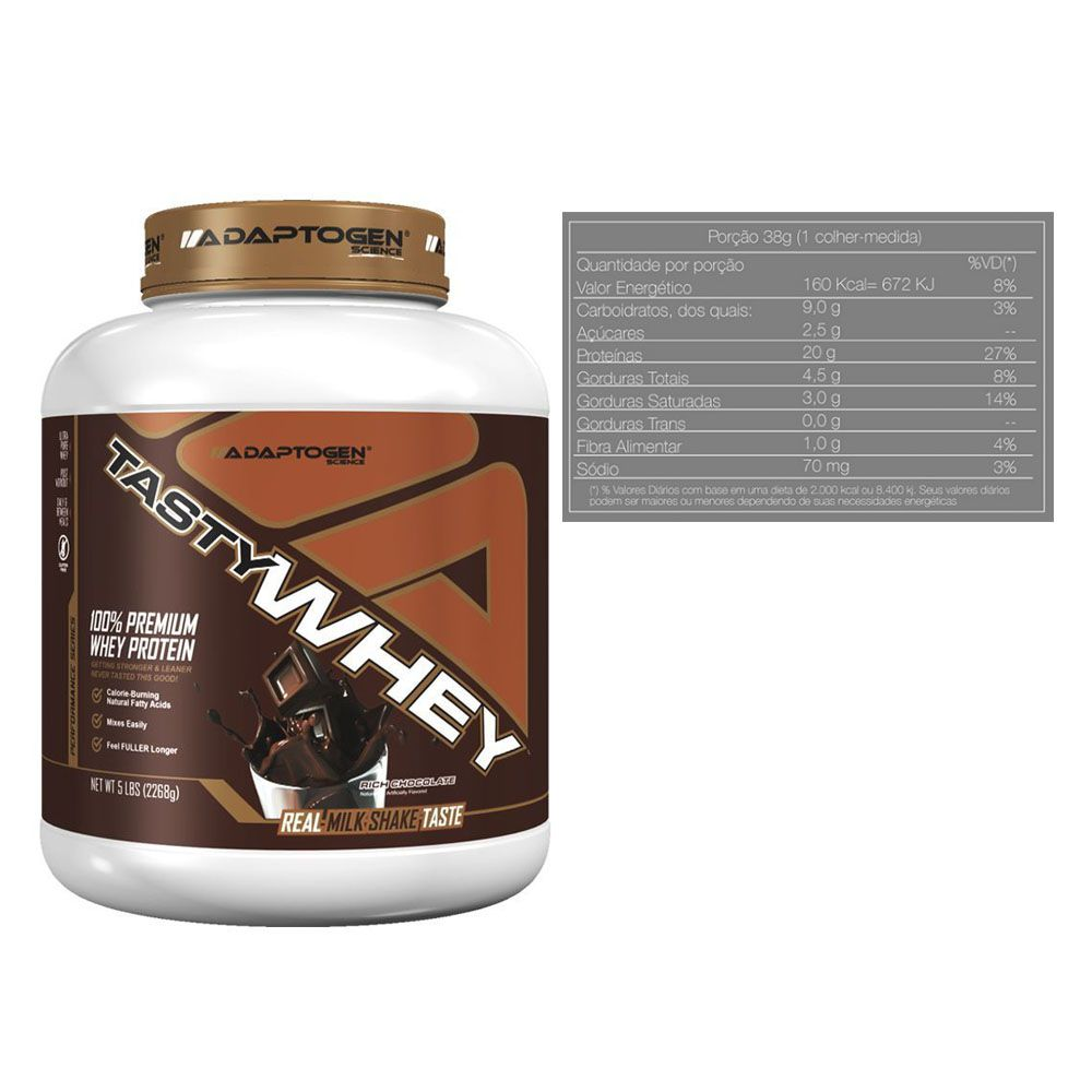 Kit Tasty Whey 5 Lbs Chocolate + Creatine 300g - Adaptogen  - KFit Nutrition