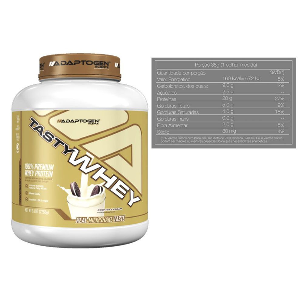 Tasty Whey 5 Lbs Cookies + Bcaa 90 Caps - Adaptogen  - KFit Nutrition