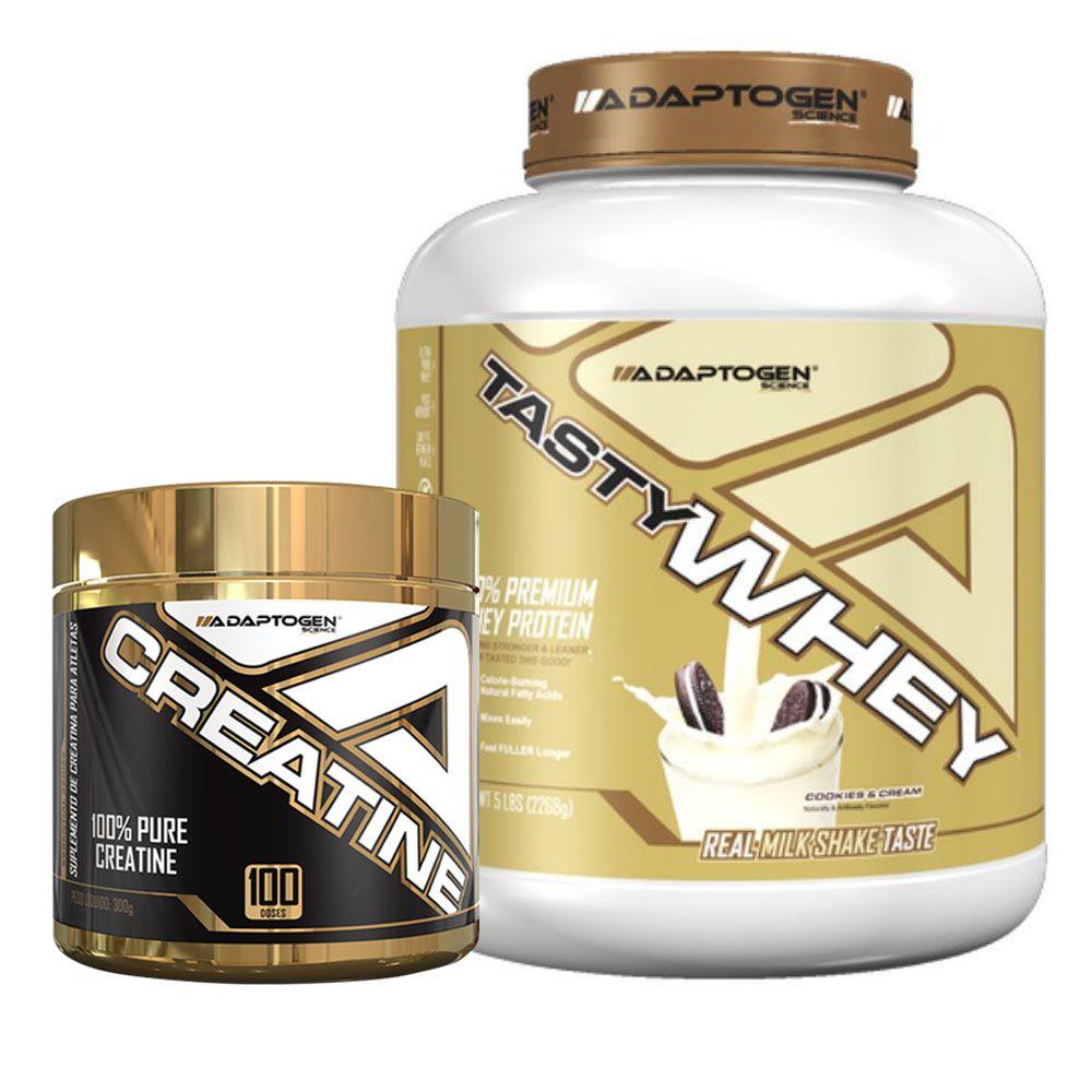 Tasty Whey 5 Lbs Cookies + Creatine 300g - Adaptogen  - KFit Nutrition