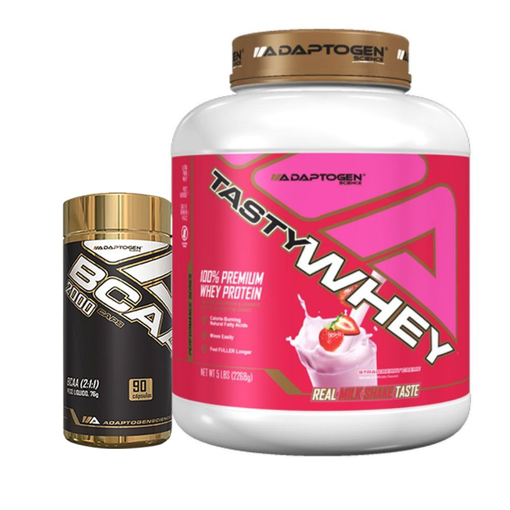 Kit Tasty Whey 5 Lbs Strawberry + Bcaa 90 Caps - Adaptogen  - KFit Nutrition