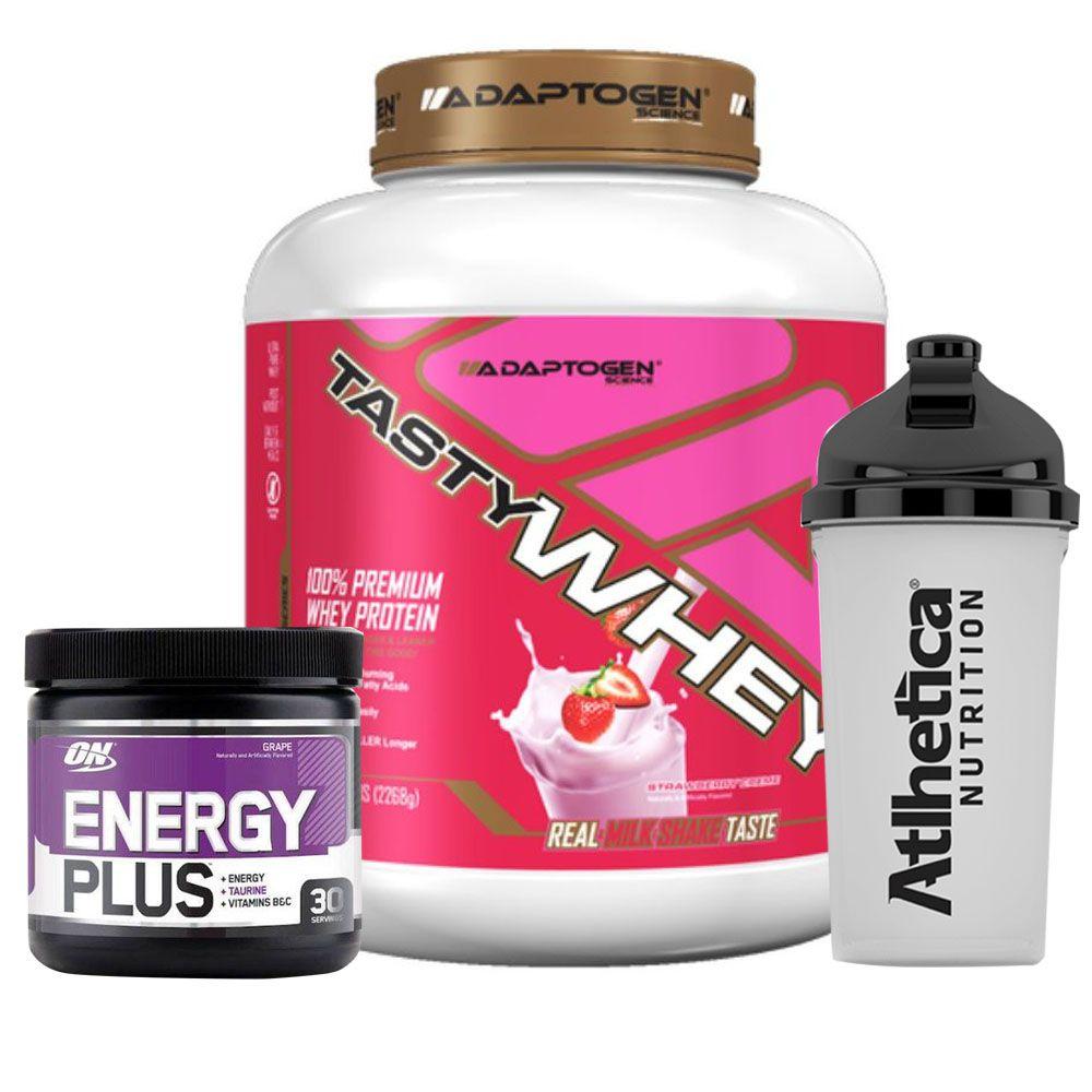 Kit Tasty Whey 5LB Strawberry + Energy Plus Grape + Bottle  - KFit Nutrition