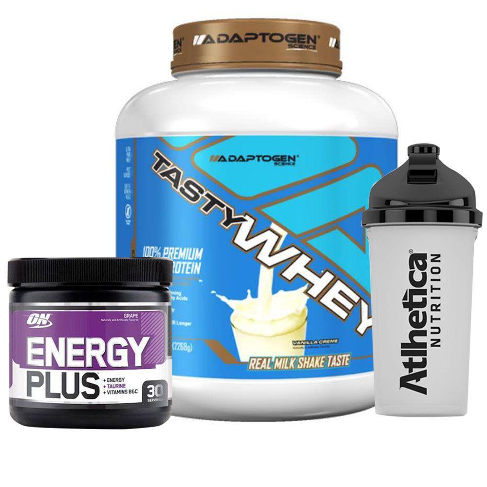 Tasty Whey 5LB Vanilla + Energy Plus Grape + Bottle  - KFit Nutrition