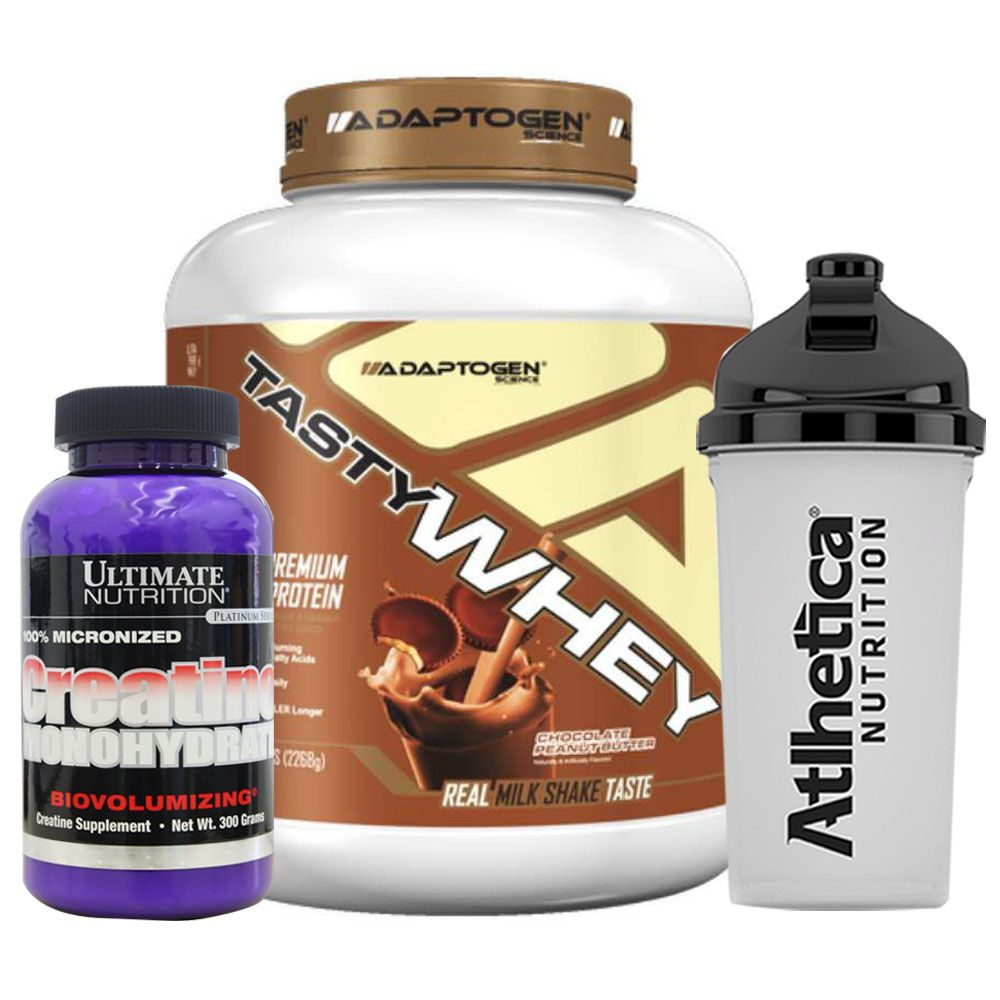 Tasty Whey Chocolate Peanut B + Creatina Utimate + Bottle  - KFit Nutrition