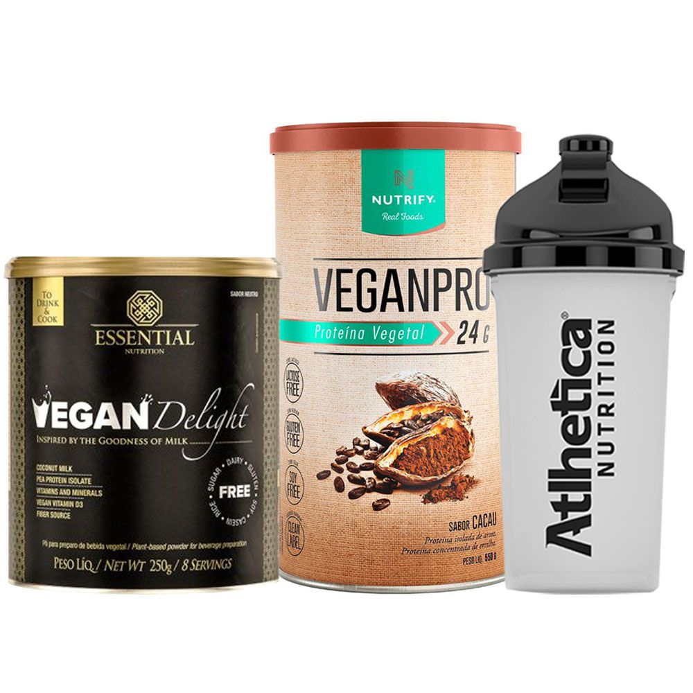 Vegan Delight 250g + VeganPro 550g Cacau + Bottle  - KFit Nutrition