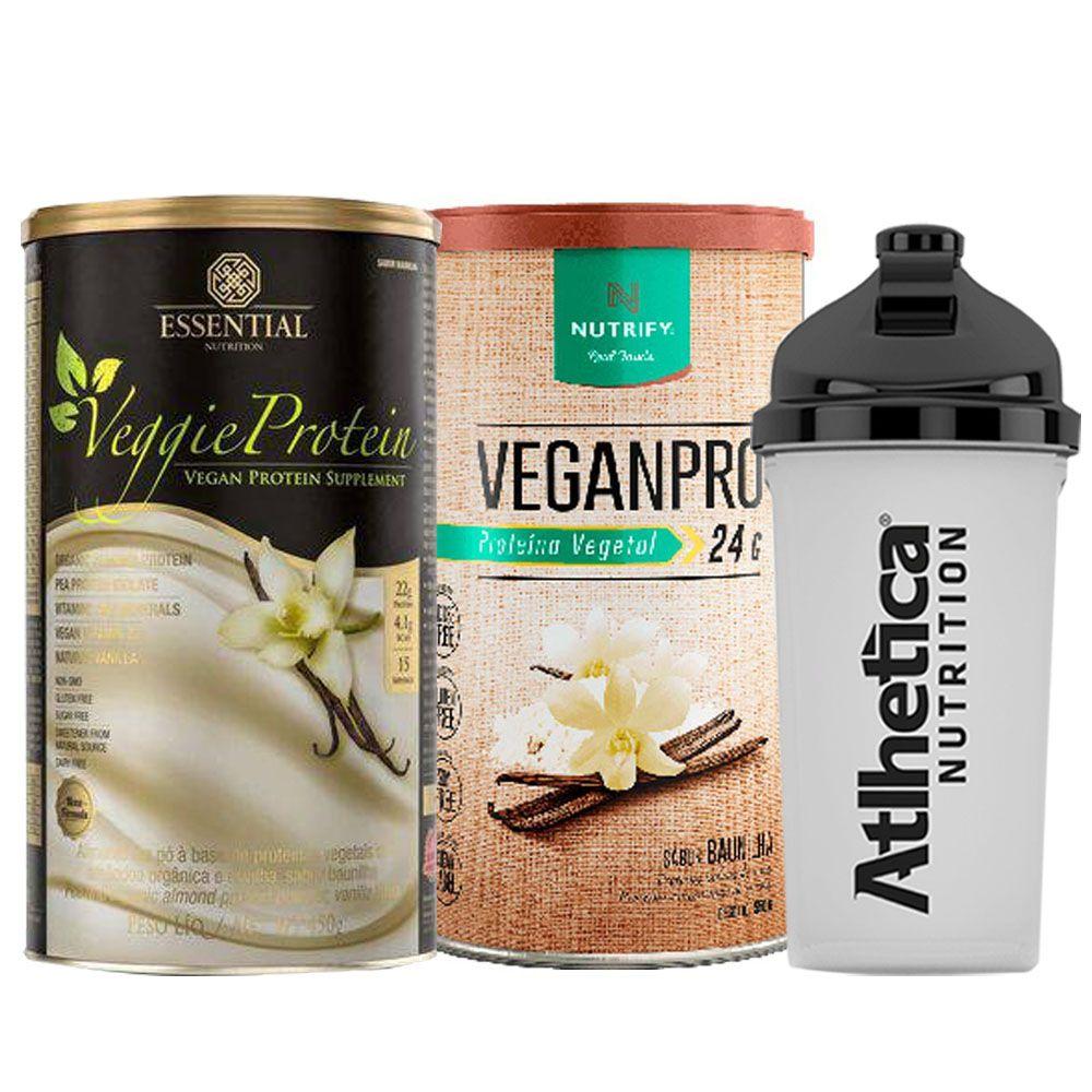 Veggie Whey Baunilha + VeganPro Baunilha 550g + Bottle  - KFit Nutrition