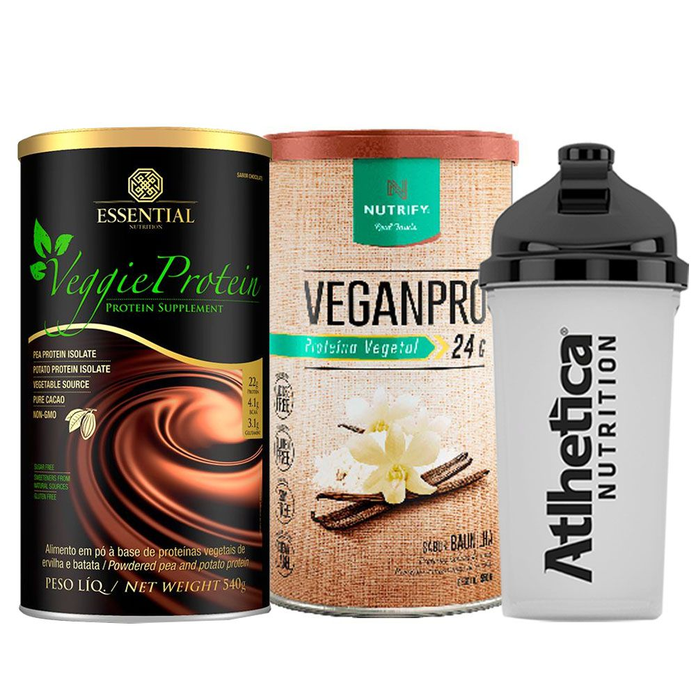Veggie Whey Cacau + VeganPro Baunilha 550g + Bottle  - KFit Nutrition