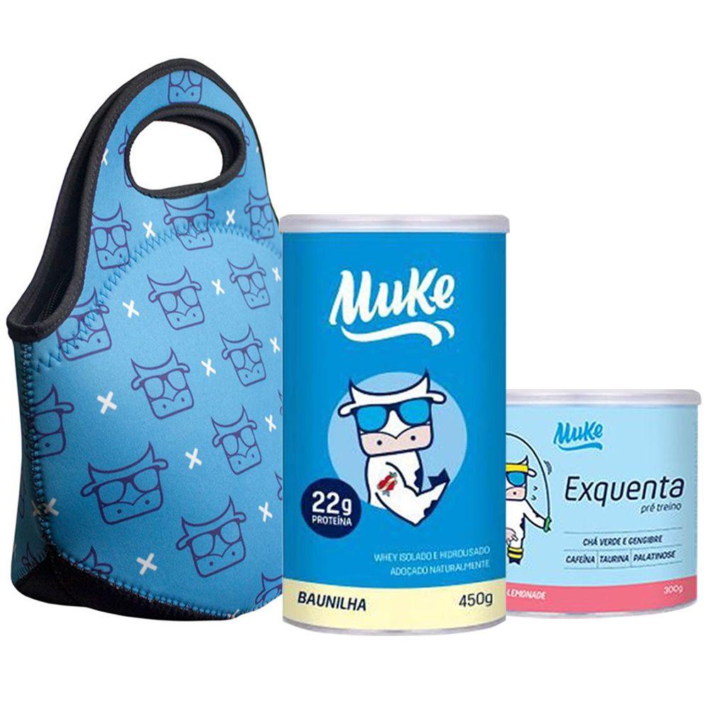 Whey Baunilha Muke 450g + Bolsa + Exquenta 300g - Mais Mu  - KFit Nutrition