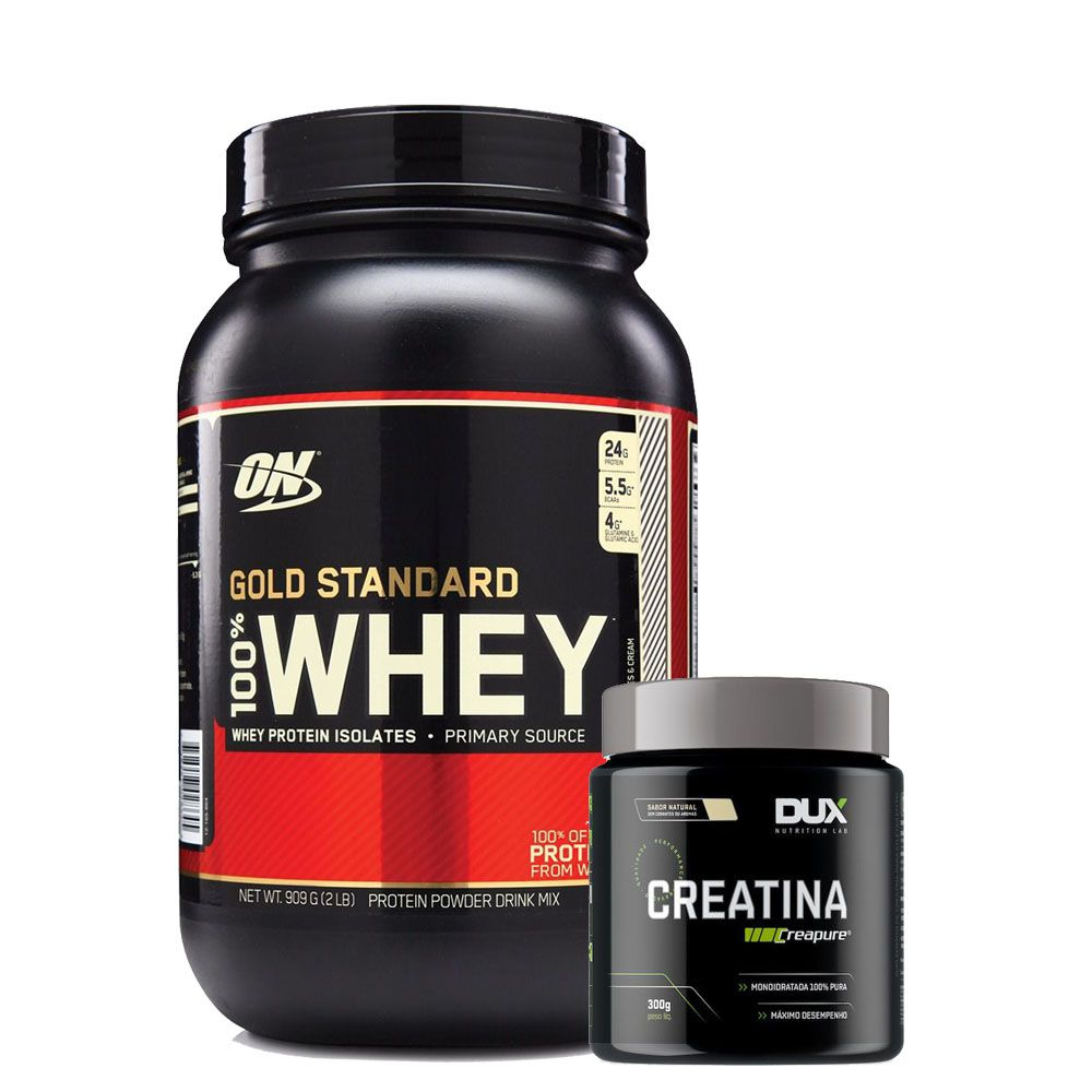 Whey Gold Standard 900g Double Rich + Creatina 300g- Dux  - KFit Nutrition