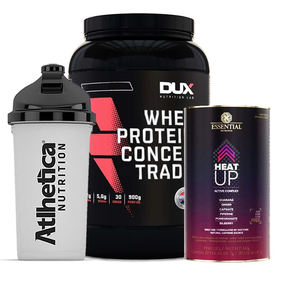 Whey Protein 900g Morango + Heat Up 140g  + Bottle  - KFit Nutrition