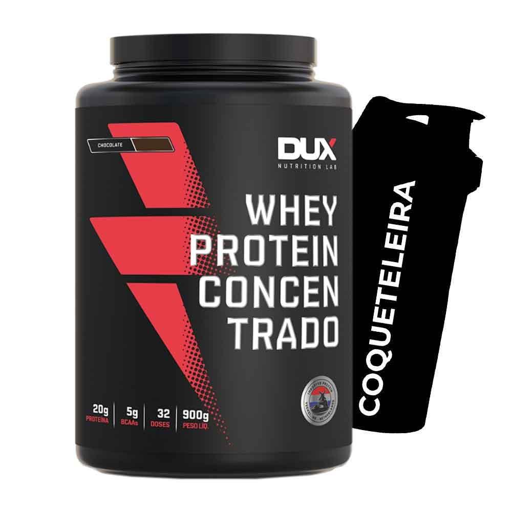 Kit Whey Protein Concentrado Chocolate - Dux + Squeeze Prata  - KFit Nutrition
