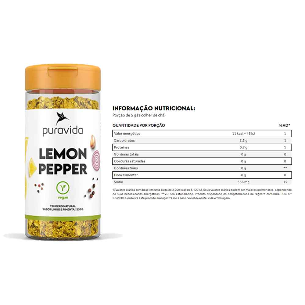 Lemon Pepper Tempero 130g Puravida e Plant Cheese Tempero Vegano 90g - Puravida e Plant Bacon Temper  - KFit Nutrition