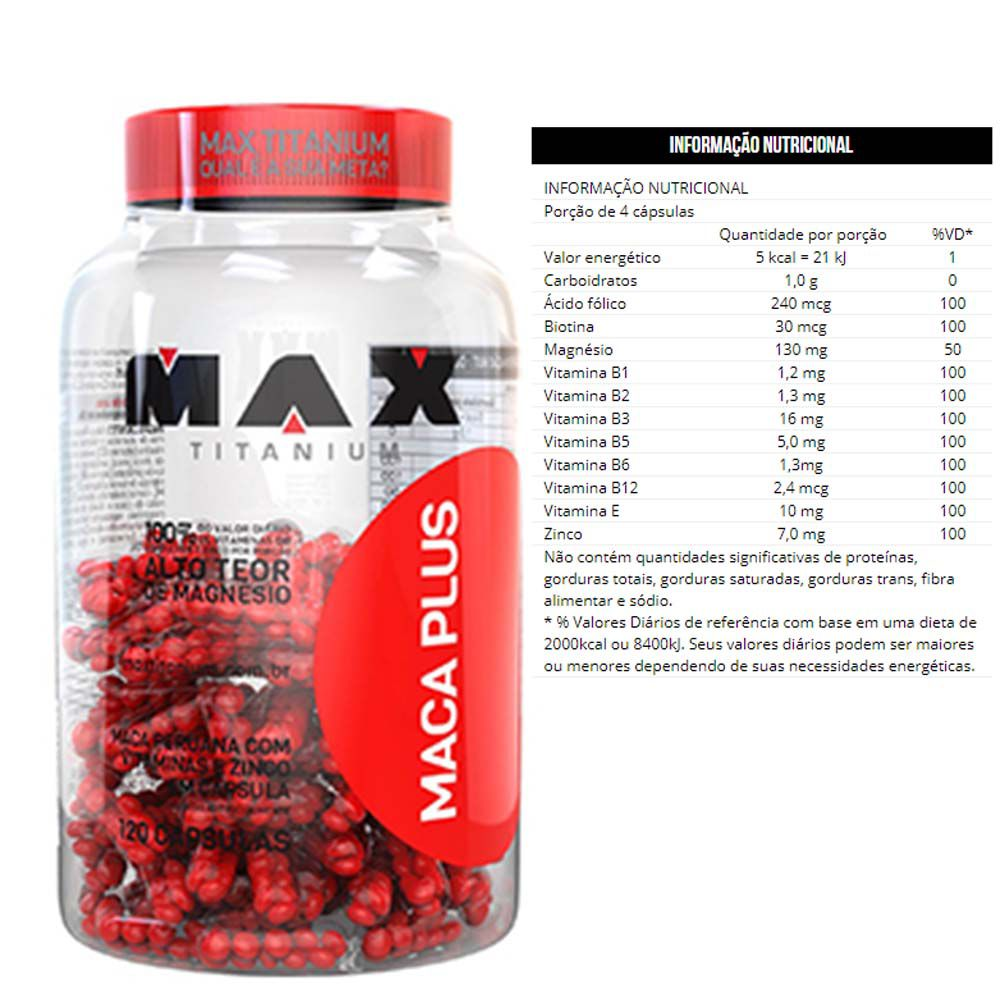 Maca Plus Com 120 Capsulas - Max Titanium  - KFit Nutrition