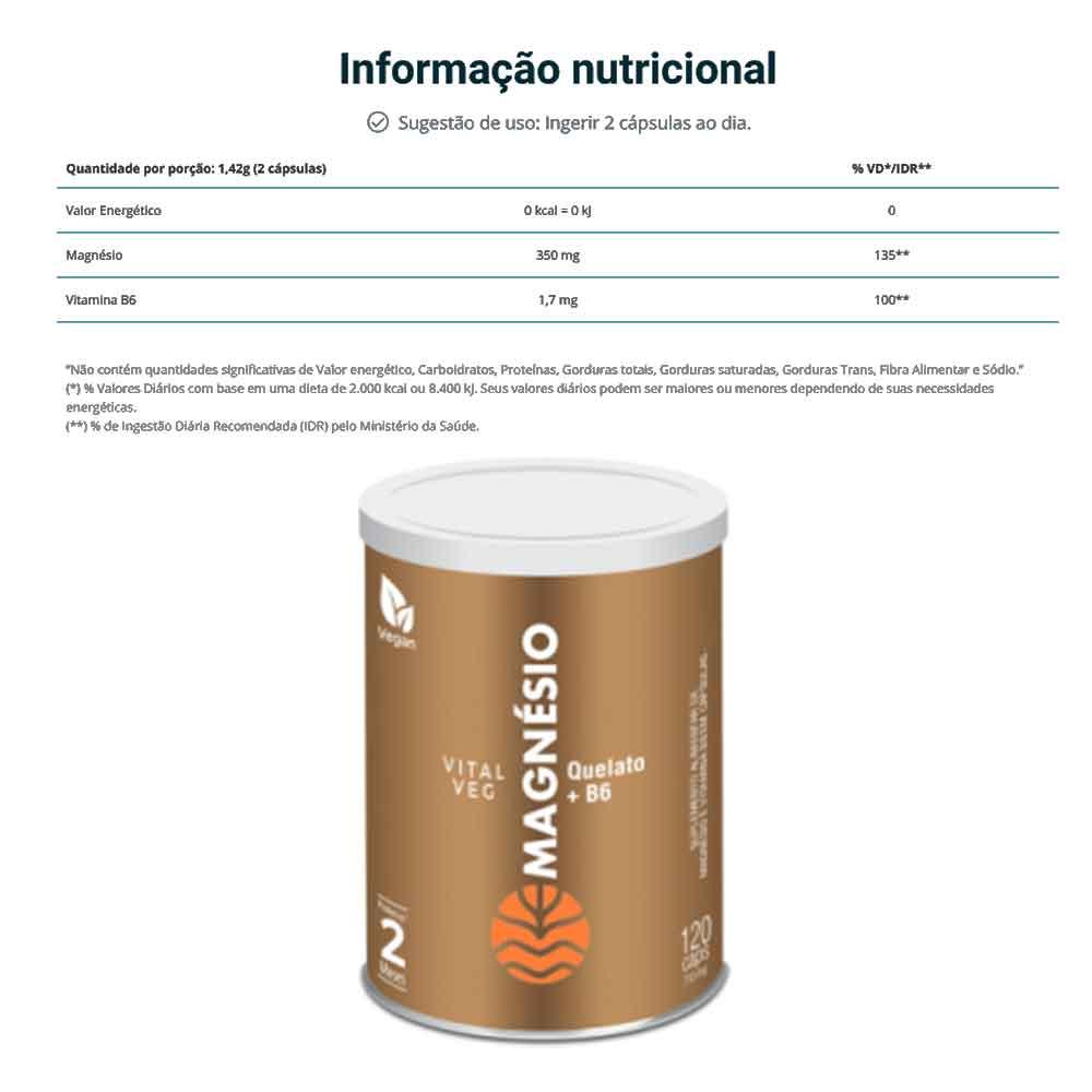 Magnesio 120 Caps - Vital Âtman  - KFit Nutrition