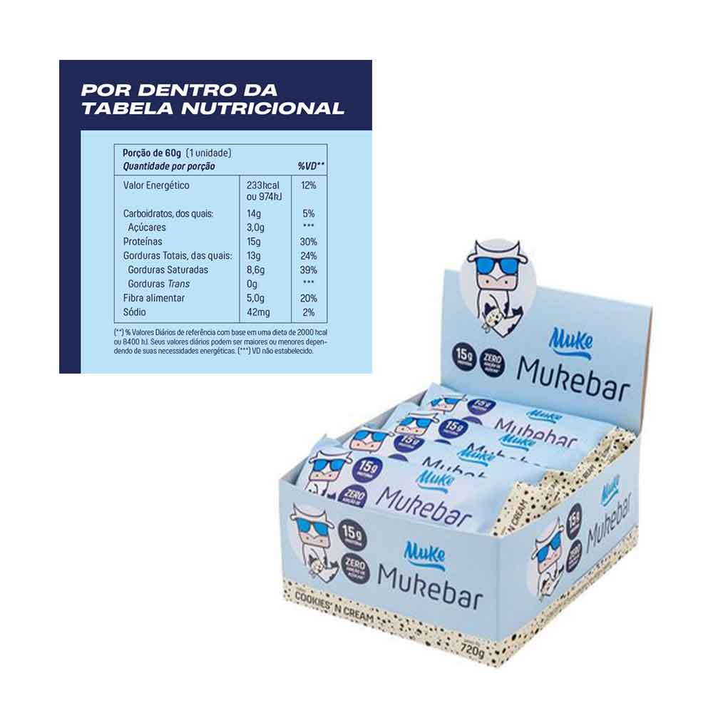 Mukebar Cookies N Cream Cx 12 Un 60g - Mais Mu  - KFit Nutrition