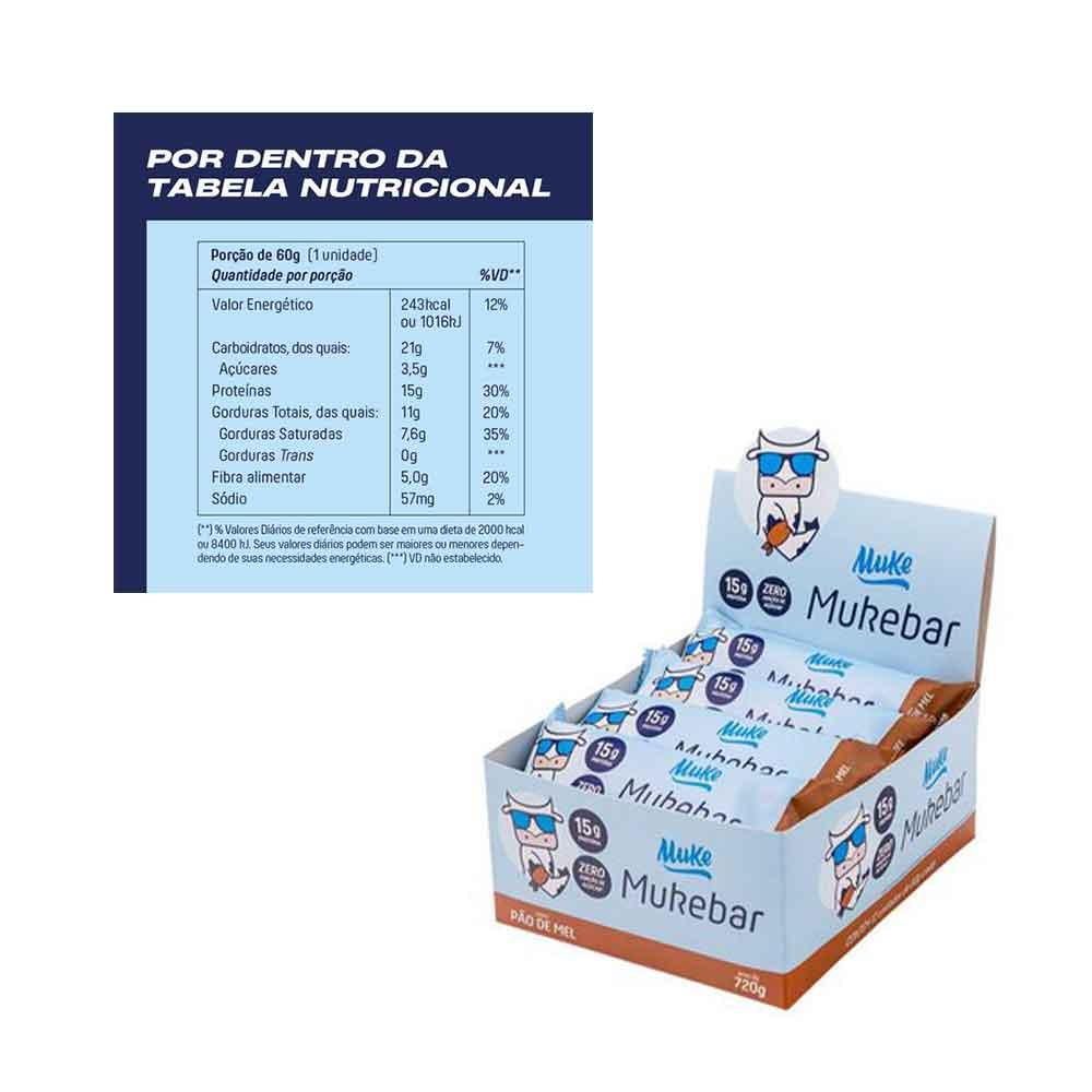 Mukebar Pão de Mel Cx 12 Un 60g - Mais Mu  - KFit Nutrition