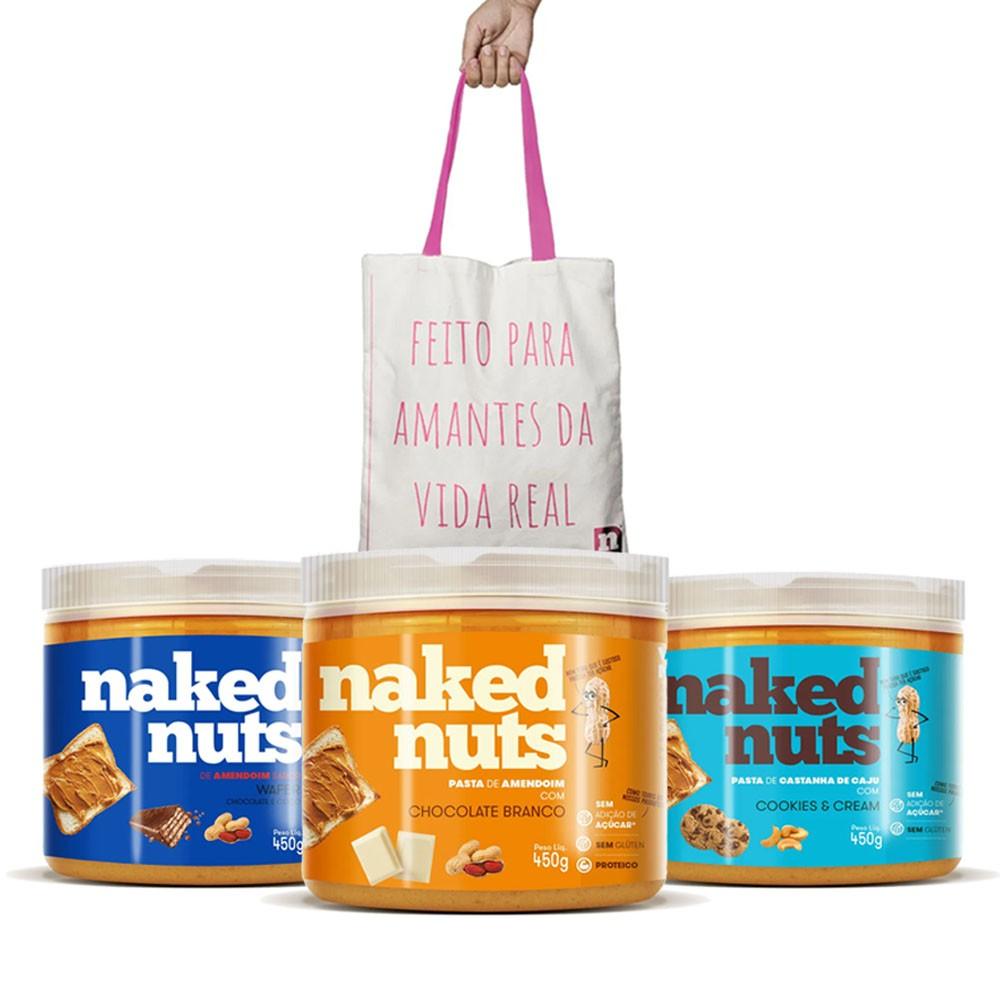 Naked Chocolate Branco + Wafer Choc + Castanha de caju + Bag  - KFit Nutrition