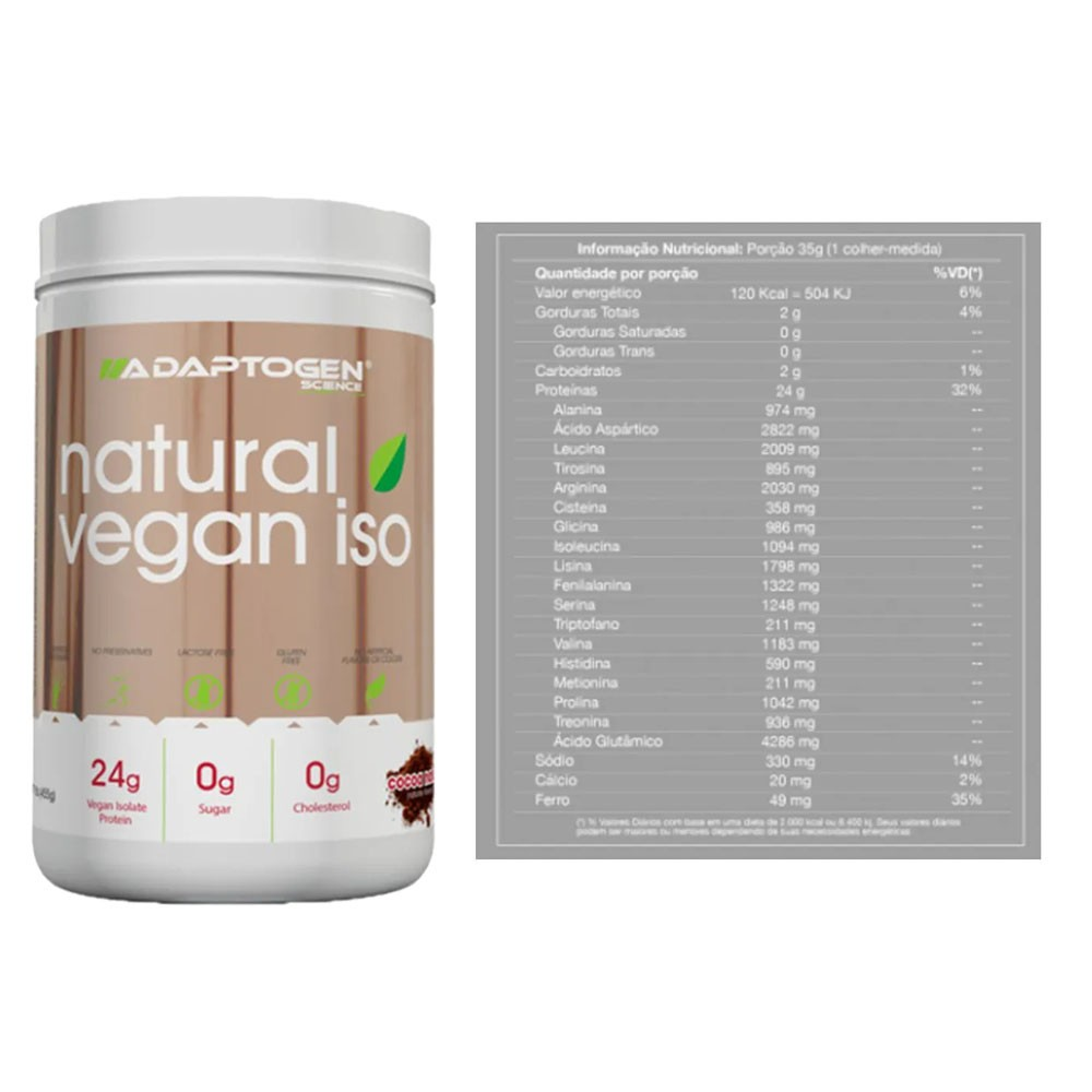 Natural Vegan ISO Cocoa Natural 455g 2un  - KFit Nutrition