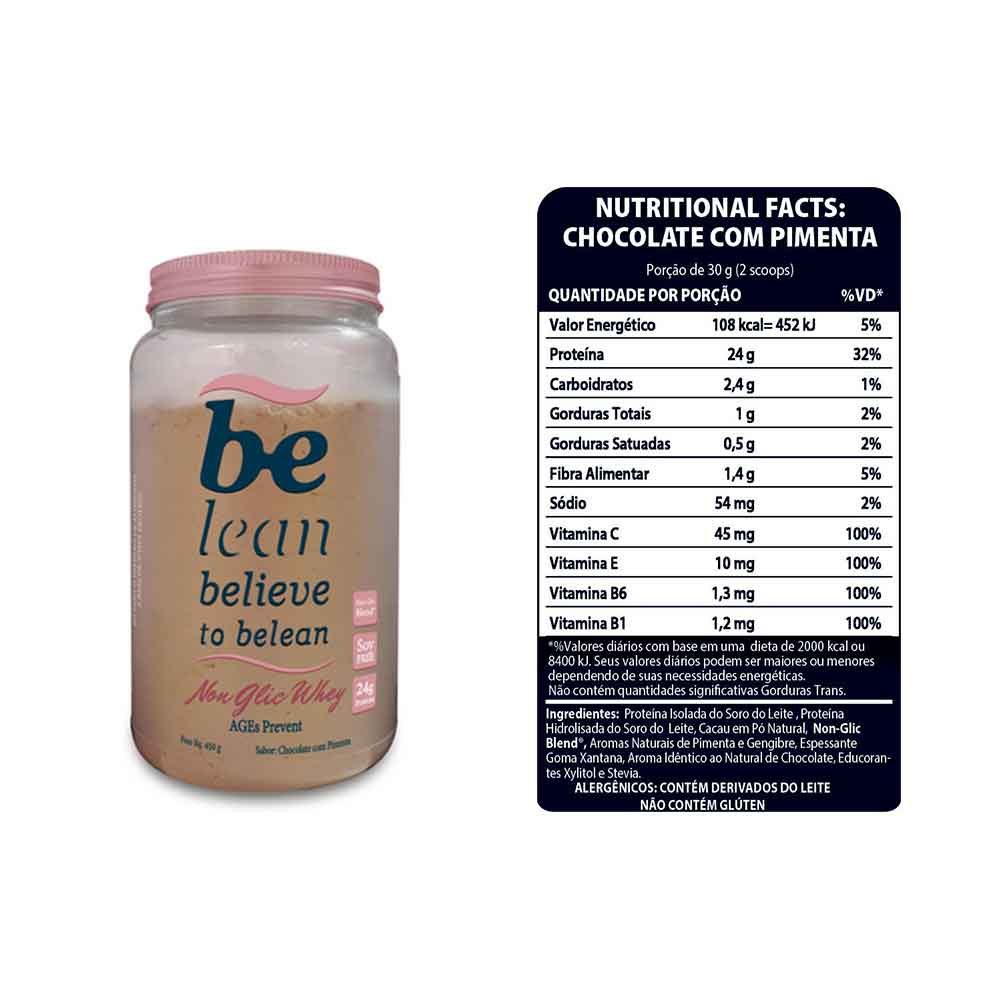 Non Glic Whey Chocolate com Pimenta 450g - Be Lean  - KFit Nutrition
