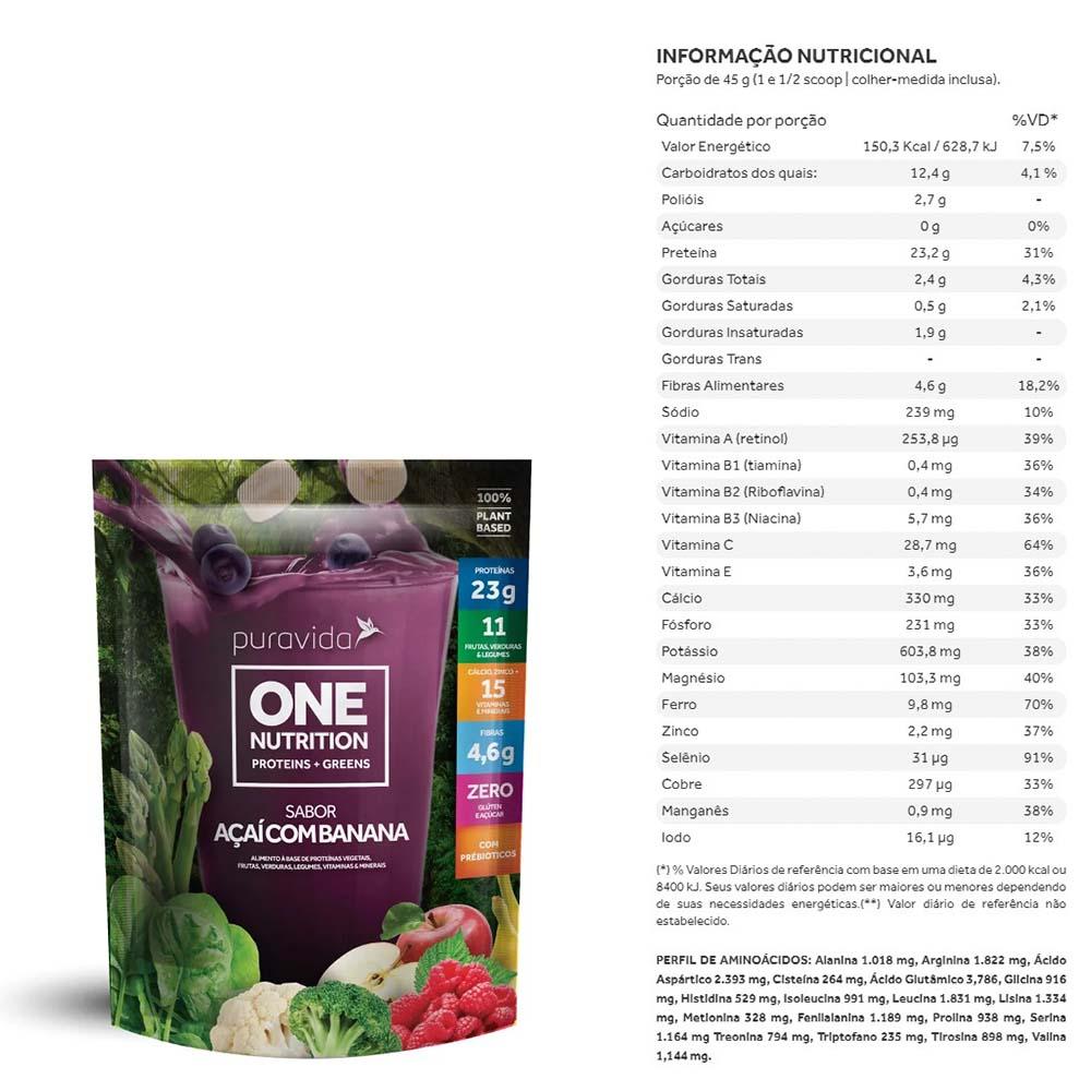 One Nutrition Vegan Proteins + Greens Açai com Banana 450g - PuraVida  - KFit Nutrition