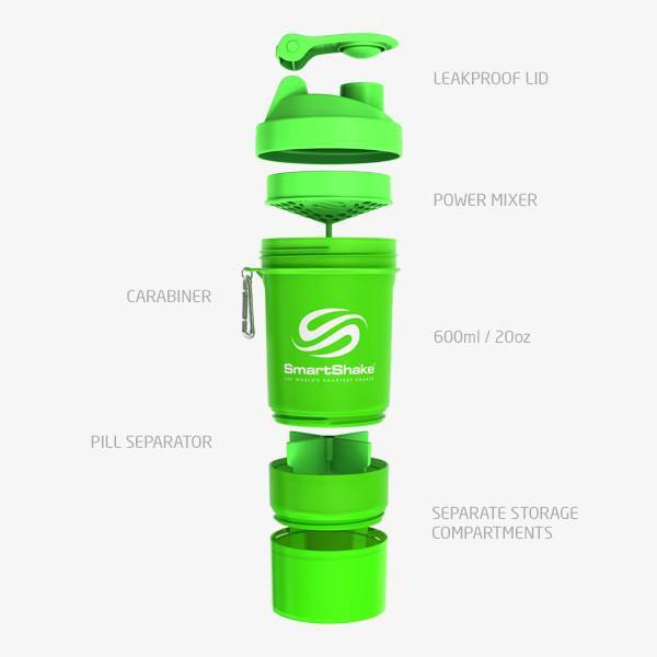 Original 2Go 600Ml - Neon Green SmartShake  - KFit Nutrition