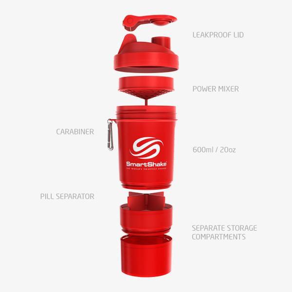 Original 2Go 600Ml - Neon Red SmartShake  - KFit Nutrition