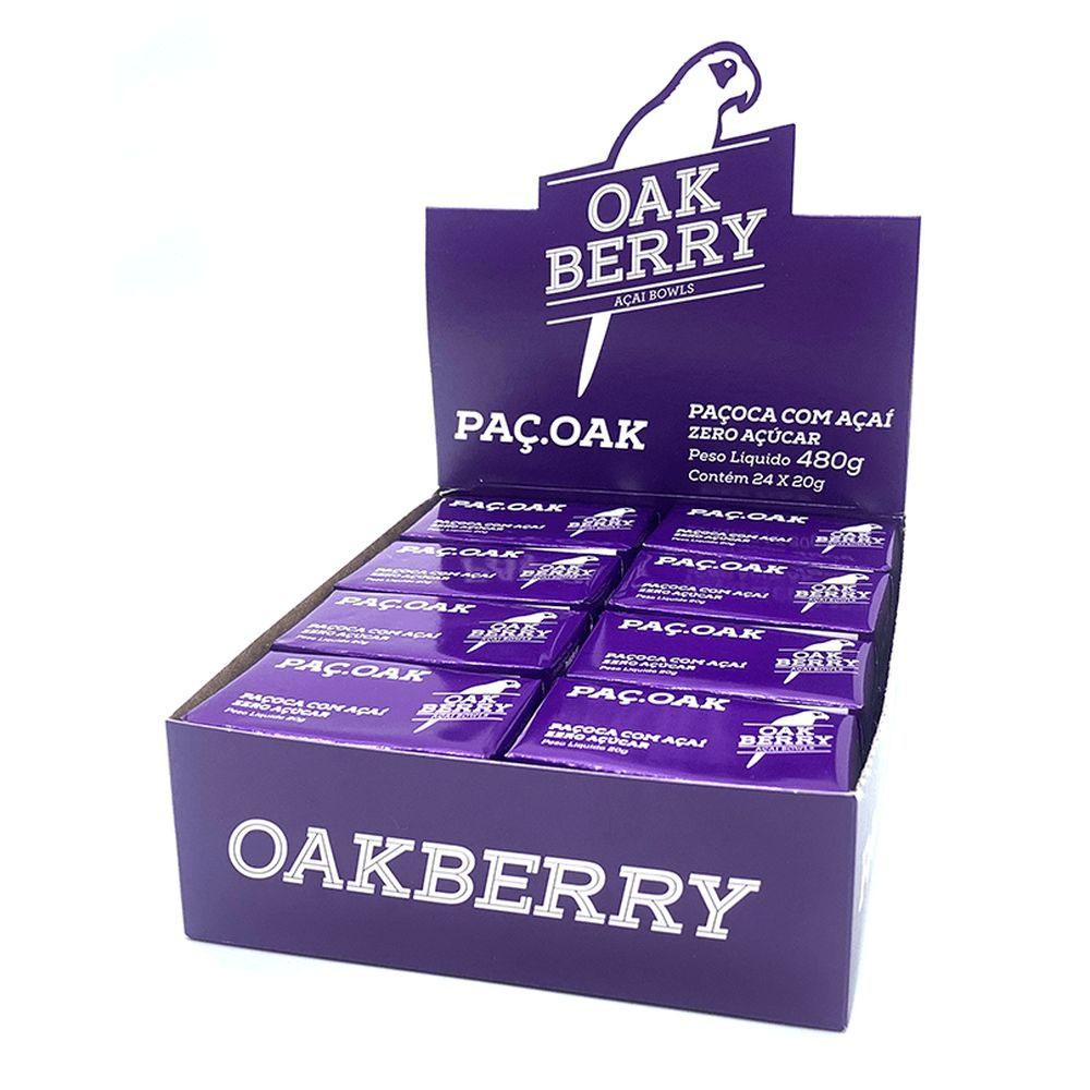 Display Paçoca Zero Açúcar com Açaí 20g - Oakberry 24 Un  - KFit Nutrition