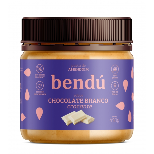 Pasta Amendoim Chocolate Branco Crocante 450g  Bendú  - KFit Nutrition