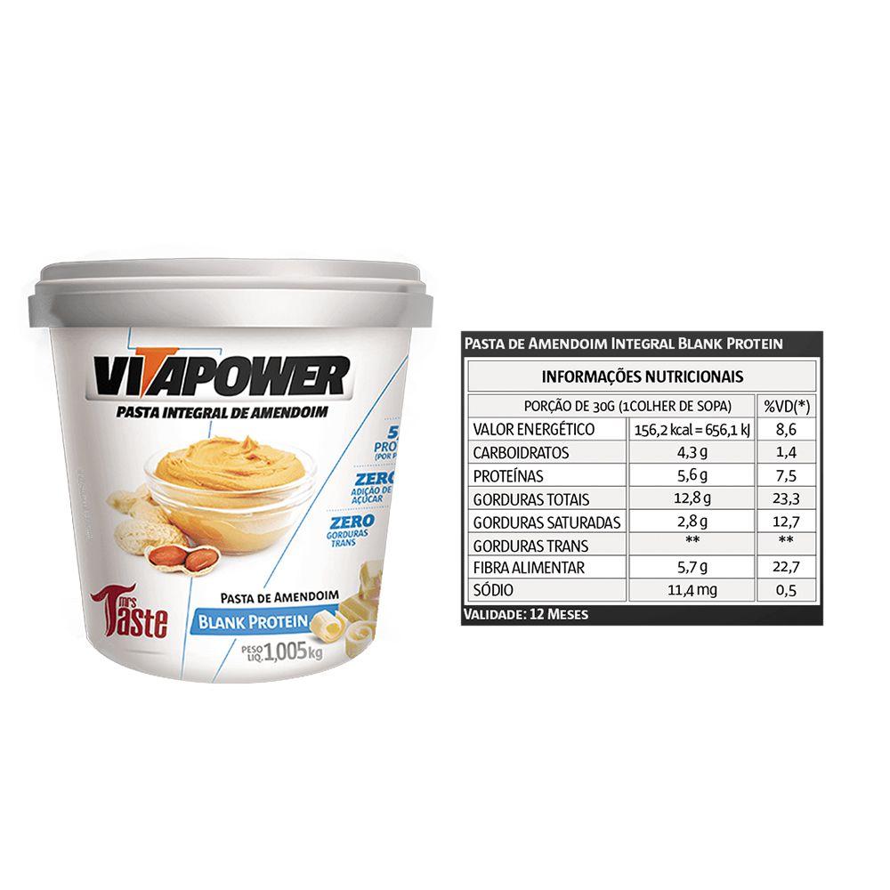 Pasta de Amendoim 1Kg Blank 2 Un Vitapower  - KFit Nutrition